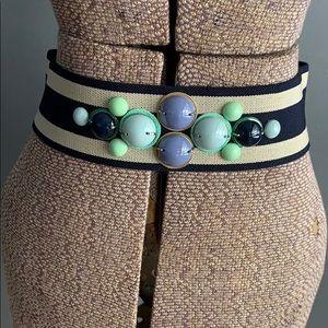 LOFT navy/sand striped beaded elastic belt